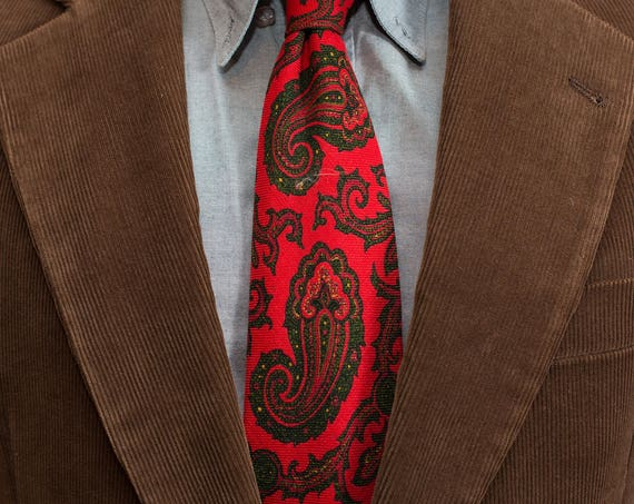 Vintage Red Wool Necktie / Paisley English Dress Tie / Made in England Fashion