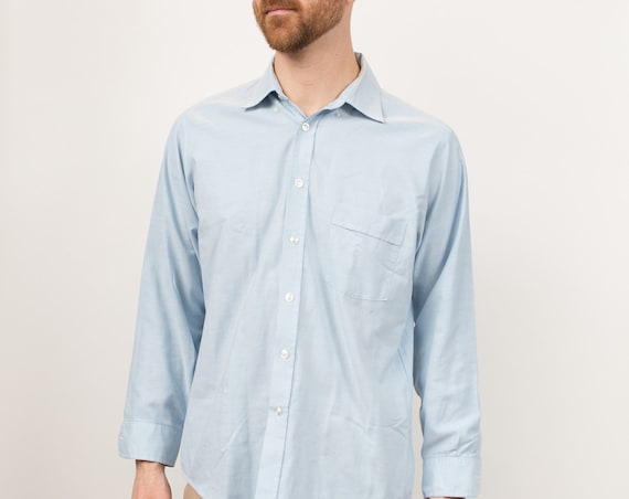 Vintage Men's Blue Shirt - Large Size Hunt Club Button Down Oxford - Casual Long Sleeved Office Shirt