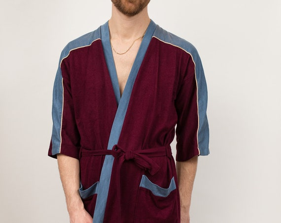 Men's Vintage Robe - One Size Red and Blue Loungewear Pajamas with Pockets - Dressing Gown - Bedroom Attire - Gift for him - Gift for Dad