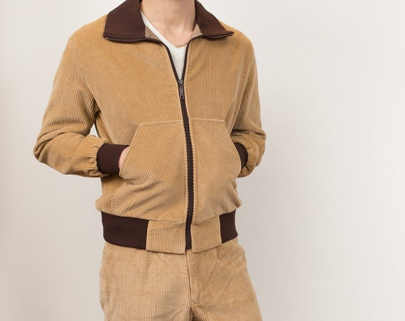 Vintage Corduroy Jacket and Pants Combo - Men's Medium Size Fitted Tan Brown Suit