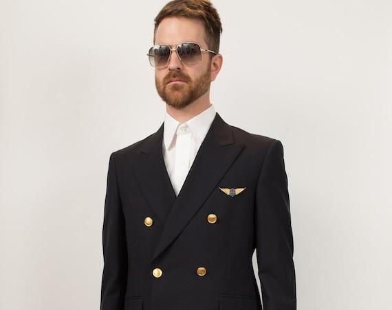 Vintage Pilot Suit Costume - Men's Pants and Suit Jacket with Gold Buttons - Flight Attendant Halloween Costume