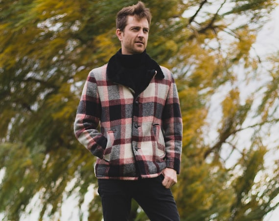 Vintage Plaid Jacket - Men's Large Outerwear  Button Up Winter Coat with Faux Fur Lining - Lumberjack Fall Autumn Winter Jacket