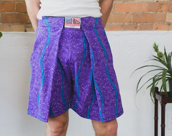 Vintage Beach Shorts - 80's Surf Shorts- Touch and Match Purple and Blue Stripe Geometric Stripe Fresh Prince Adjustable Lightweight Men's