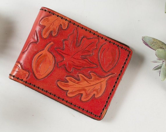 Vintage Men's Wallet - Handmade Leather Leaf Imprint Canadian Wallet - Country Style Arts and Crafts Leather Craftsman Wallet