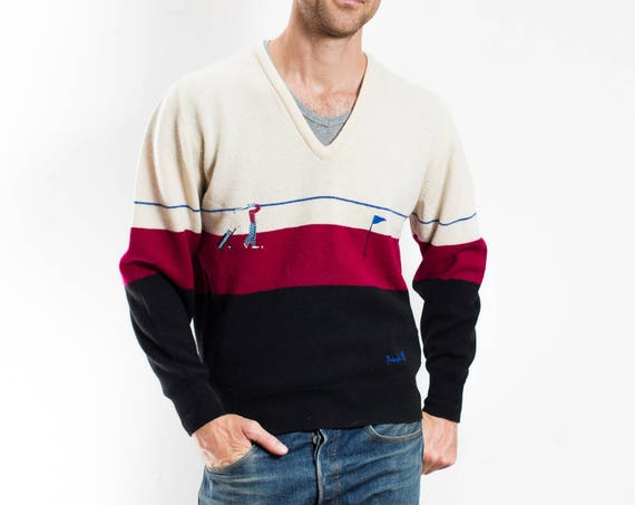 Vintage Mens Golf Sweater / Pringle Brand Small V-neck Pullover / Made in Scotland / Colour Block White, Red and Black Sweater