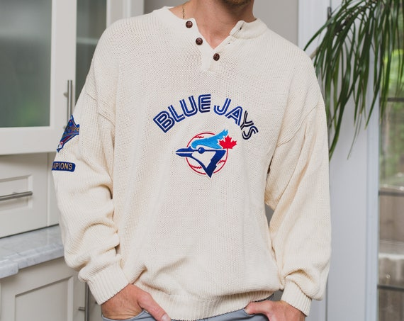 Vintage Blue Jay's Sweater - Men's 90's Oversized Medium Toronto Blue JaysWhite Shirt - World Series Baseball Knit Pullover
