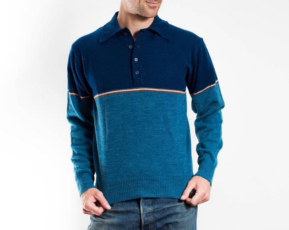 Vintage Mens Sweater / Blue Van Heusen Small Pullover / Colour Block Acrylic Wool Blend / Made in Hong Kong