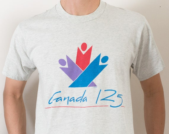 Canada 125th Shirt - Canadian Birthday Shirt - Men's Medium Size off-White Sports Tee - Vintage Toronto Canada Athletic T-shirt