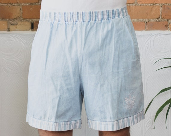 Vintage Beach Shorts - Surf/ Swim Beach Shorts with Elastic Waist - light baby Blue Fresh Prince Adjustable Lightweight -  Connie Mazzella