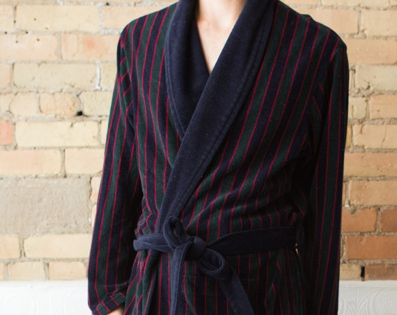 Men's Vintage Robe - Medium Size Striped Pyjamas / Dressing Gown - Bedroom Attire - Gift for him - Gift for Dad - Retro Smoking Robe