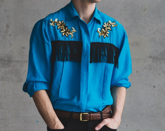 Vintage Western Shirt - Bright Blue Button up Western Style Shirt - Mens/ Women's Long Sleeved Cowboy Rodeo Southwest Shirt with Fringe