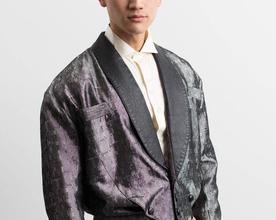 Vintage Low Cut Blazer / Mens Silver Metallic Jacket with Leather Trim