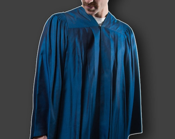 Vintage 80's Men's Graduation Gown - Shiny Blue Robe - Harcourts Robemakers Toronto