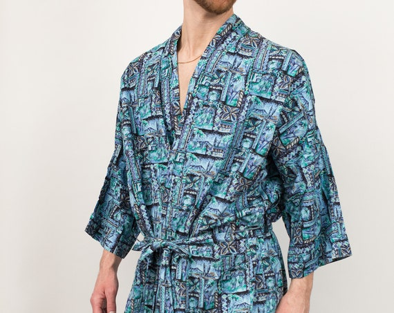 Men's Vintage Robe - Medium Size Green Tropical Hawaiian Aloho Tiki Pajamas / Dressing Gown - Bedroom Attire - Gift for him - Gift for Dad