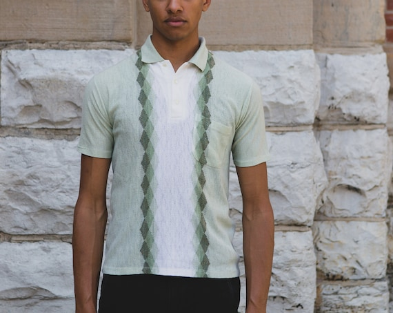 Men's 50's Polo Shirt - Medium Size Green White Argyle Knit Geometric Abstract Pullover with Diamond Pattern - Short Sleeved Shirt