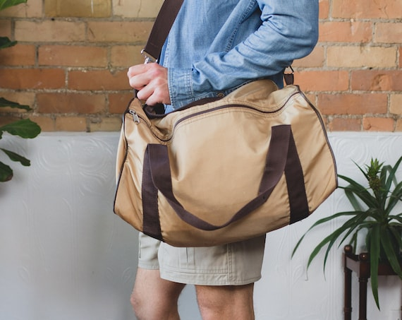 Vintage Duffle Bag - Brown Nylon Retro Duffel Bag for Gym, Office or Beach - Men's Day or Overnight Bag
