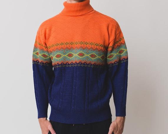 Vintage Men's Sweater - Medium 90's Orange and Blue Turtleneck Pullover - Long Sleeved Geometric Pattern Jumper