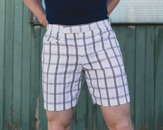 "Vintage Checkered Shorts - Men's 34"" White and Brown Plaid Shorts - 1980's Boarding Skater Shorts"