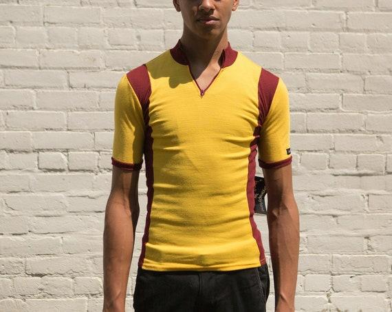 80's Vintage Men's Biking Shirt - Small Size Striped Yellow and Burgundy Athletic Workout Cycling Bike Shirt