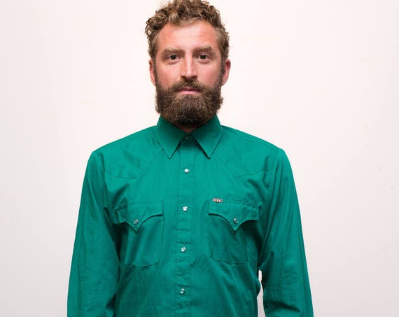 Vintage Western Shirt / 1970's Mens Medium Emerald Green Rodeo Shirt with Snap Buttons / Button up Casual Long Sleeved Ely Cattleman, Korea