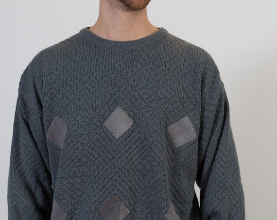 Vintage Grey Sweater - Mens Large Size Geometric Pullover with Leather Diamond Patchwork