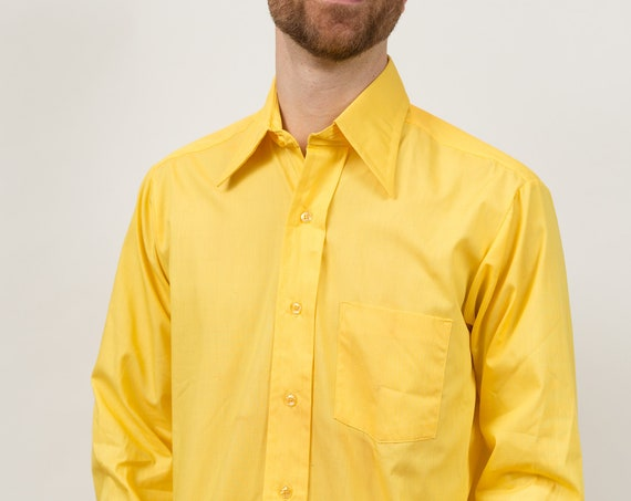 Vintage Yellow Shirt - Men's Medium Button Down Yellow Shirt - Solid Office Formal Long Sleeved Dress shirt
