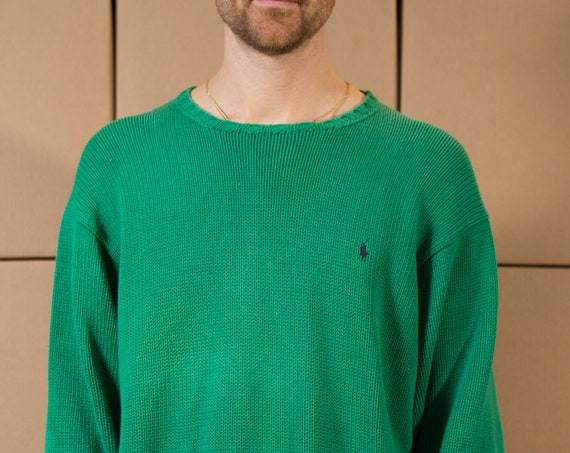 Vintage Green Sweater - Men's Ralph Lauren Knit - Large Size  pullover Crew Neck Jumper for Him - Christmas Dad Sweater