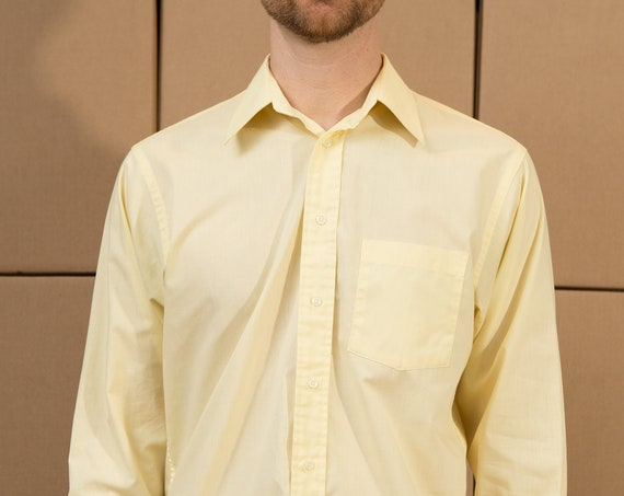 Vintage Yellow Shirt - Men's Medium Button Down Pale Pastel Yellow Shirt - Solid Office Formal Long Sleeved Dress shirt