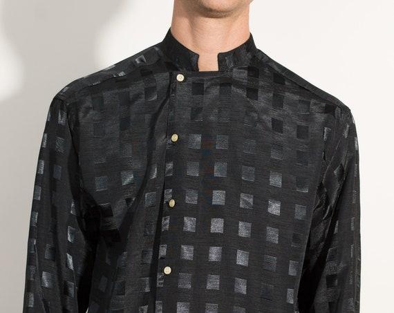 Vintage Black Shirt - Men's or Women's Medium Button Down Shiny Checkered Pattern Shirt - 80's Formal Event Short Sleeved Casual shirt
