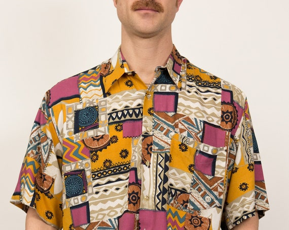 Vintage Abstract Shirt - 90's Medium Size Men's Baroque Geometric Button up Short Sleeved Fresh Prince of Belair Shirt