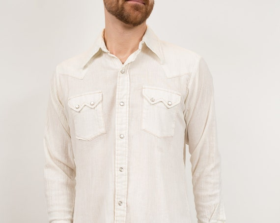 Vintage Men's Western Shirt - Medium Off-white Snap Button Shirt - Outdoor Rodeo Cowboy Button Up Fall Autumn Shirt