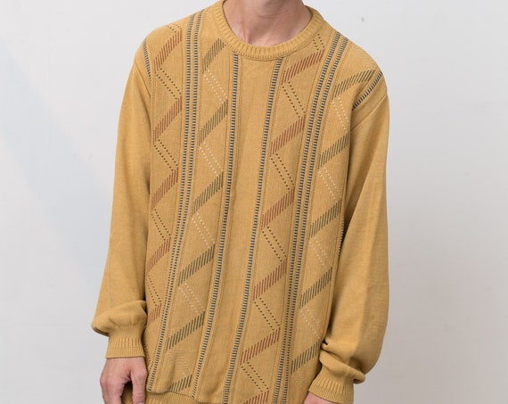 Vintage Yellow Sweater - Oversized Pale Honey Mustard Yellow Men's or Women's Large Torsani Geometric Abstract Long Sleeved Jumper Pullover