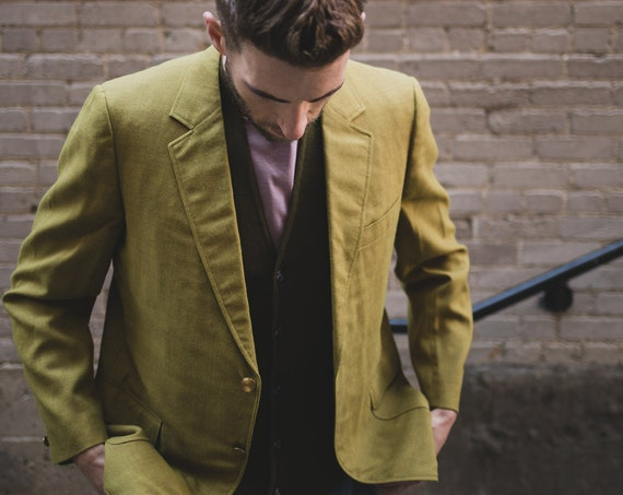 Vintage Men's Blazer - Medium Green Sports Coat - Bench Tailored by Mill Craft - Vintage Wedding Suit Coat