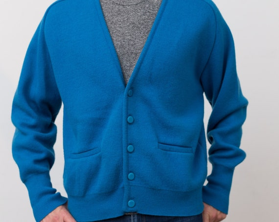 Vintage Blue Cardigan - Large Size Men's Blue Coloured Canadian Tundra Sweater -Solid Knit Large Size Christmas Button up jumper for Him