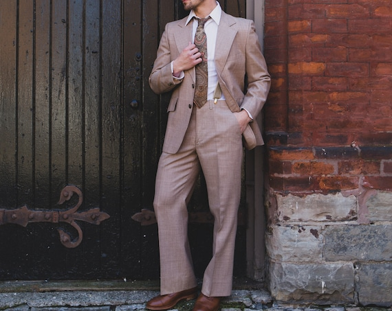 Vintage Men's Suit - Mocha Brown 2-piece Wedding Groom Wool Stripe Suit - Retro Wedding Groomsmen Prom Suit Blazer Sports Coat