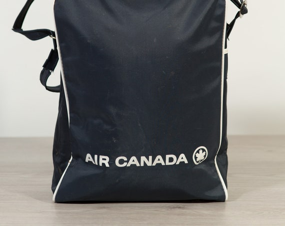 Vintage Air Canada Bag - Canadian Airplane Blue and White Shoulder Strap Carry on Bag