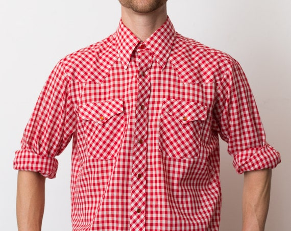 Vintage Men's Western Shirt - Large Ranch Western Wear Red and White Plaid Shirt - Checkered Outdoor Rodeo Cowboy Shirt -Button up Top
