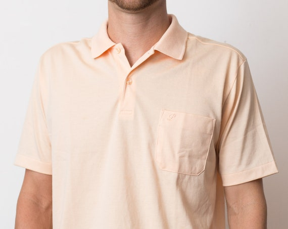 Vintage Men's Polo Shirt - Large Size Pale Pastel Soft Peach Golf Shirt - Liia Grrand Mode Per Uomo Button Collar Tee