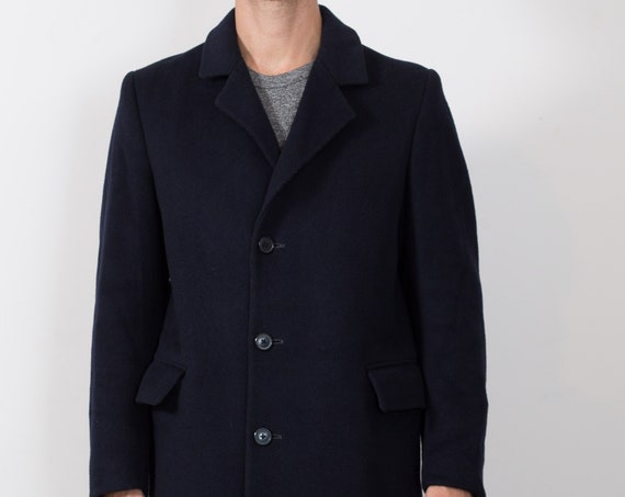 Vintage Blue Overcoat - Men's Mod Wool and Cashmere Medium Jacket by Tivoli