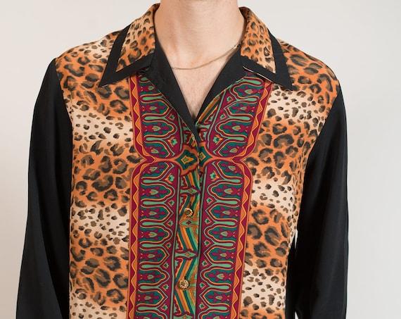 Animal Print Blouse - Cheetah Print Unisex Black Sheer Shirt with Tribal Pattern - Safari Feelz