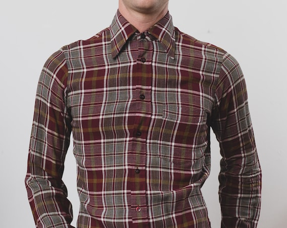 Vintage Men's Flannel Shirt - Small Arrow Plaid Shirt - Checkered Outdoor Lumberjack Shirt - Button up Burgundy Red and Grey Camper