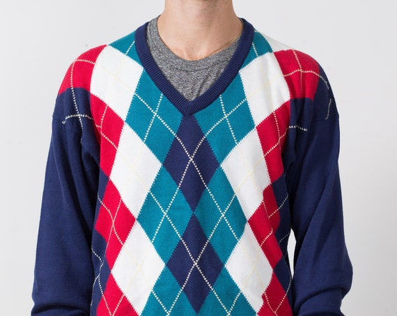 Vintage Dunhill Sweater - Argyle Knit Pattern Scottish Style Seamless Tilling Men's Medium Size V-neck Jumper - Retro Long Sleeve Pullover