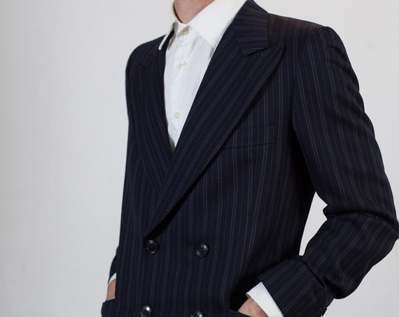 Vintage Blue Pinstripe Blazer - Small Size 1990's Mens Sports Coat - Formal Office Casual Suit top