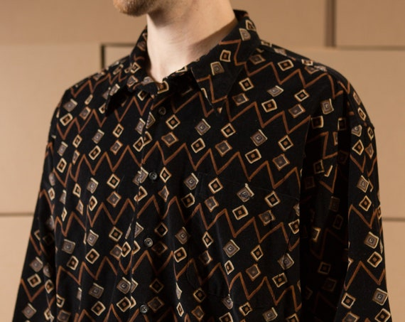 Vintage Chevron Shirt - Men's X-Large Button Down Corduroy Geometric Pattern Shirt -  Long Sleeved Oversized Boyfriend shirt