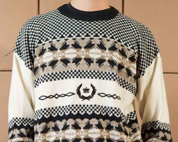 Vintage Preppy Sweater - Large Size Grey, Black and White Pullover - Acrylic Blend Geometric Pattern Crew Neck Preppy Sweater