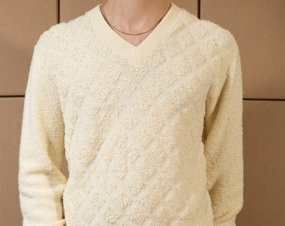 Vintage Cream Sweater - Men's Diamond Knit Medium Size Magnolia Pullover Crew Neck Jumper for Him - Gift for Dad - Christmas Sweater