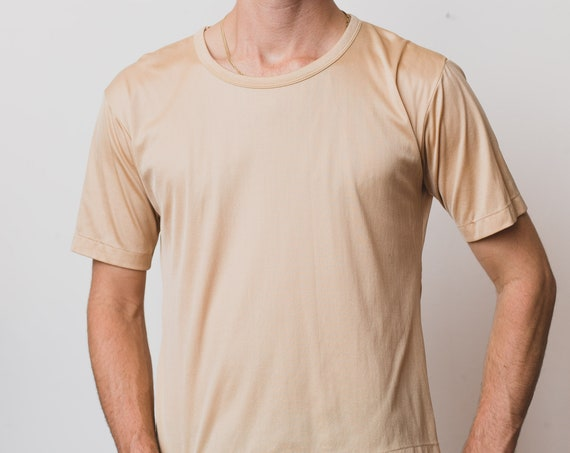 Vintage Men's Nylon T-Shirt - Tan Colored Small Size Stretchy Shiny Tee