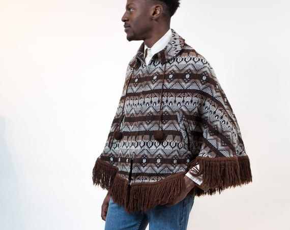 Vintage Poncho - Southwestern Style Zip-up Geometric Pattern Hippie Poncho with Pom Poms - Fringed Country Cowboy Brown Aztec Mexican Shawl