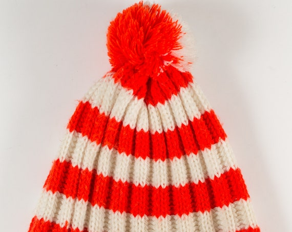 VIntage Winter Hat / Where's Waldo Toque - Unisex Men's or Women's Red Stripe Knit Canadian Cap for Snowmobiling, Ice Skating, Snowboarding