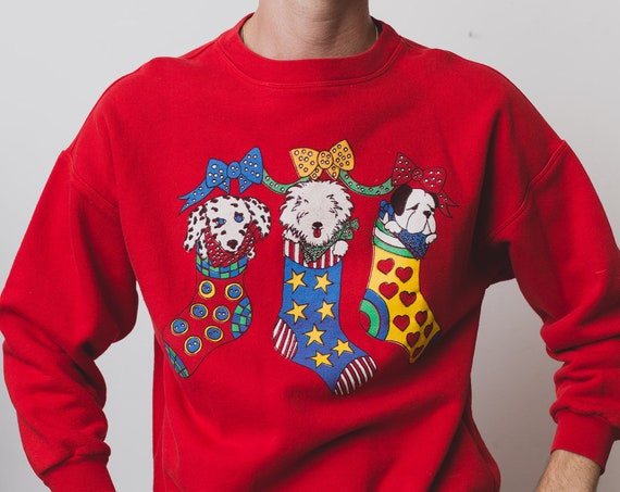 Vintage Red Sweater - Mens/Women's Medium Cotton Puppy Stocking Christmas Pullover -Cute Dogs with Bows in Holiday Stocking Jumper